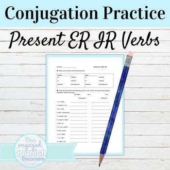 Spanish 1 Conjugation worksheet: present tense of -ER and