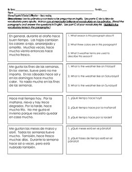 Spanish 1 WEATHER Basic Reading Comprehension