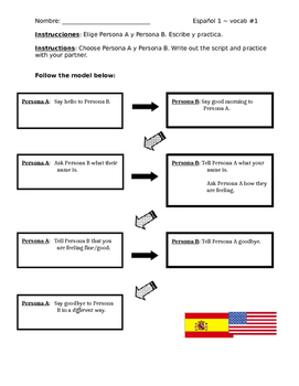 Spanish 1 guided conversation using greetings & intros (De