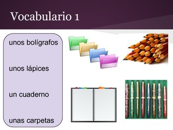 Spanish 1 interactive presentation, school vocabulary and