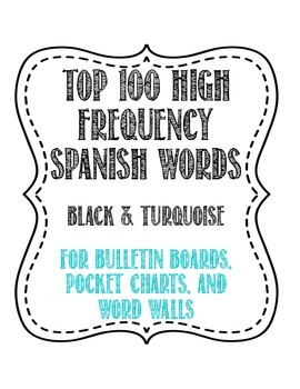 Spanish 100 High Frequency Words Word Wall - Black & Turquoise