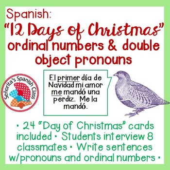 Spanish - 12 Days of Christmas Interview Activity w/ Ordin