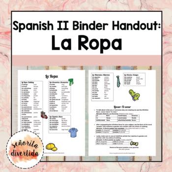 Spanish 2 Binder Handout: Clothing