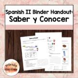 Spanish 2 Binder Handout: Saber v. Conocer