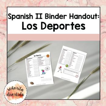 Spanish 2 Binder Handout: Sports