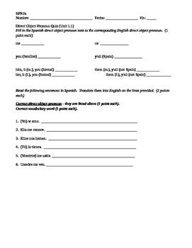 Spanish 2, Direct Object Pronoun Quiz