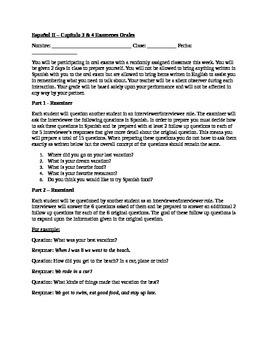 Spanish 2 Oral Exam & Rubric: #2