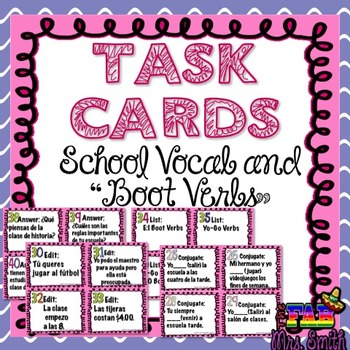 "TASK CARDS: School Vocab and ""Boot Verbs"""