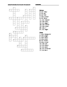 Spanish 2 - Usted and Ustedes Commands Crossword