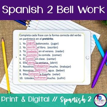 Spanish 2 Bell Work:  130