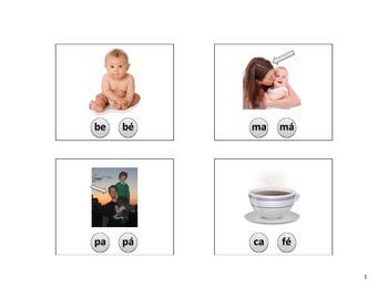 Spanish 2 syllable CVCV apraxia or articulation flashcards