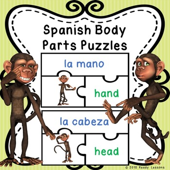 Spanish Sight Words Puzzles for Spanish Body Parts for ELL