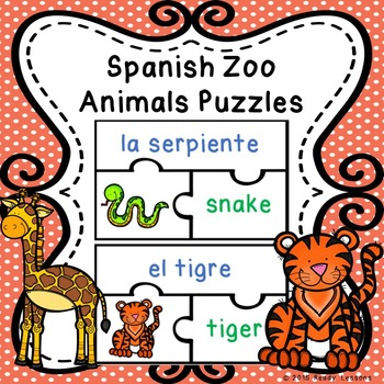 Zoo Animals Spanish Sight Words Puzzles for Spanish Center