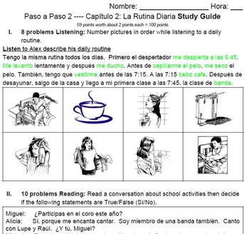 Spanish 2B (Paso a Paso 2) Chapter Test Study Guides
