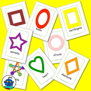 Spanish Shapes Flash Cards. Heart, Circle, Diamond, Square