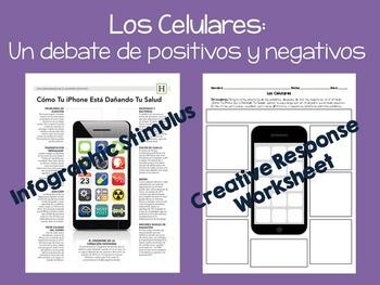 Spanish 3 4 Cellphone Infographic & Response Activity (Esp