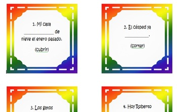 Spanish 3 Task Cards for Estar + Past Participle in Spanish
