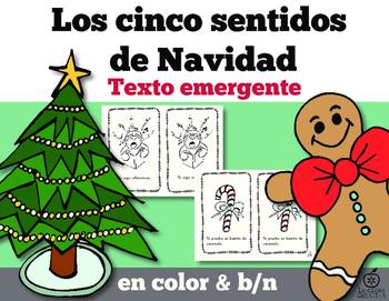 Spanish 5 Senses of Christmas Emergent Reader