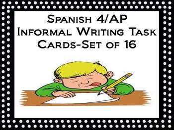 Spanish AP/4 Informal Writing Task Cards-Set 16