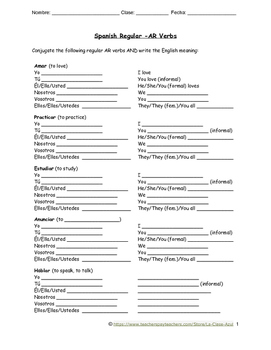 Spanish AR Verb Conjugation Practice