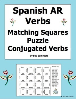 Spanish AR Verbs Conjugated 4 x 4 Matching Squares Puzzle