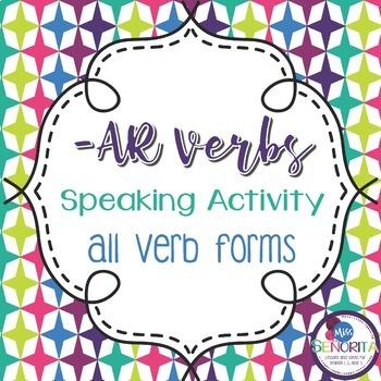 Spanish -AR Verbs Speaking Activity - singular and plural