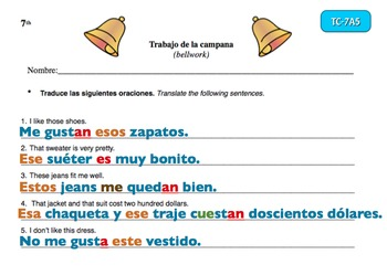 Spanish Activities Bellwork TC77A PowerPoint