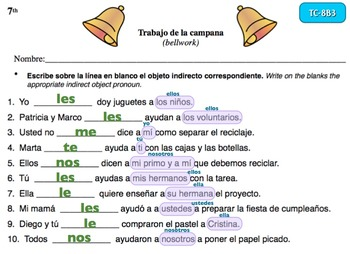Spanish Activities - Bellwork TC78B Powerpoint