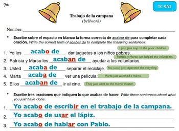Spanish Activities - Bellwork TC79A Keynote