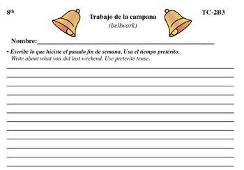 Spanish Activities - Bellwork TC82B PDF