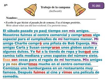 Spanish Activities - Bellwork TC82B Powerpoint