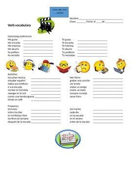 Spanish Activities Vocabulary