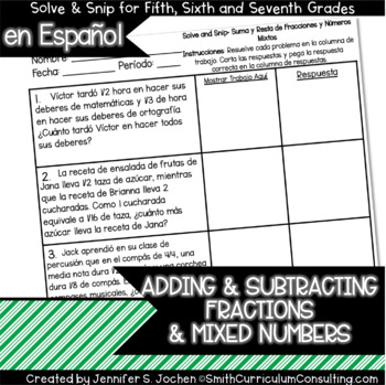 Spanish Adding and Subtracting Fractions and Mixed Numbers