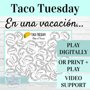 Spanish Adios al Verano TACO TUESDAY Vocabulary Game (Vaca