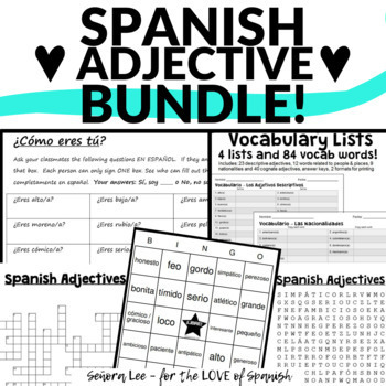 Spanish Adjectives Bundle - Word Search, Crossword, Bingo