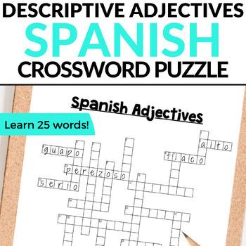 Spanish Adjectives CROSSWORD
