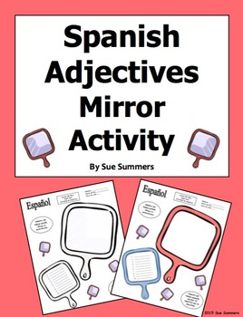 Spanish Adjectives Mirror Sketch Activity