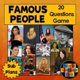 Famous Hispanics, Spanish Adjectives Review Game and Resea