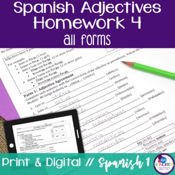Spanish Adjectives and Ser Homework 4 - all forms