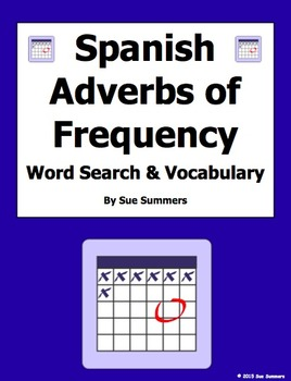 Spanish Adverbs of Frequency Word Search Worksheet and Vocabulary