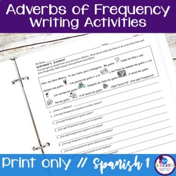 Spanish Adverbs of Frequency Writing Exercises