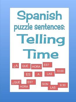 Spanish: Telling time puzzle sentences