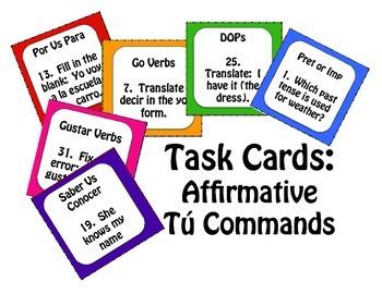 Spanish Affirmative Tú Commands Task Cards
