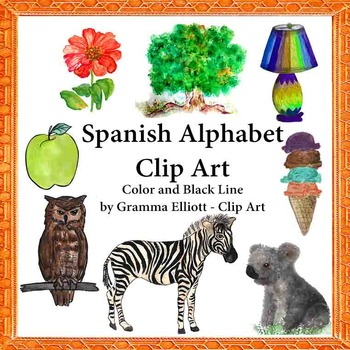 Realistic Clip Art for Spanish Alphabet Words in Color and