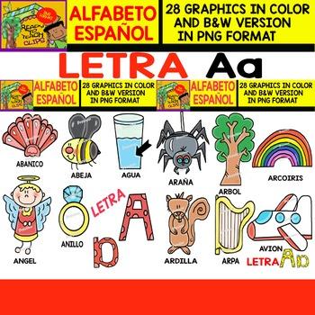 Spanish Alphabet Clipart Set - Letter A