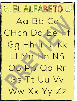 Spanish Alphabet + B&W Worksheet Printable! | El Alfabeto Poster
