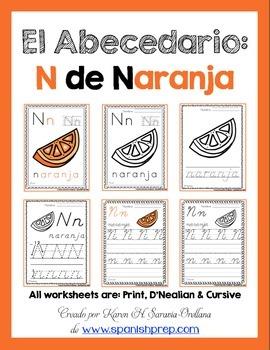 "Spanish Alphabet Handwriting Practice & Posters: ""N de Naranja"""