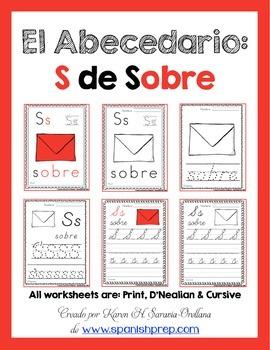 "Spanish Alphabet Handwriting Practice & Posters: ""S de Sobre"""