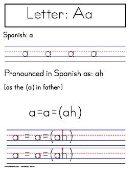 Spanish Alphabet Handwriting Worksheets Manuscript (Zaner-Bloser)