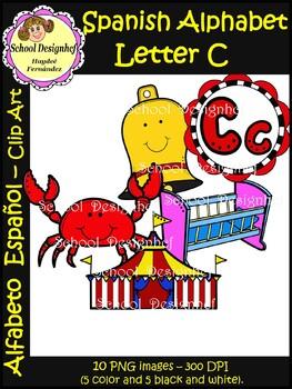 Spanish Alphabet Letter C(Alfabeto letra C): Clipart